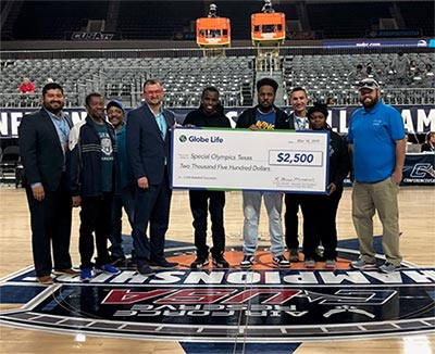Globe Life Donates $2,500 to Special Olympics Texas at Conference USA Basketball Championship article thumbnail